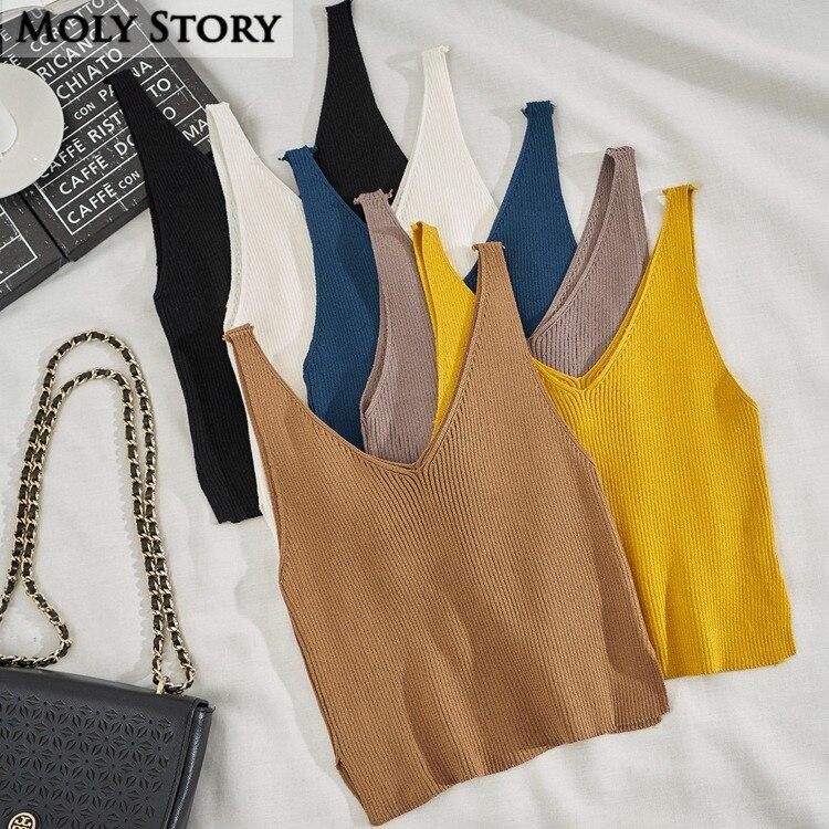 6 Color Summer Sleeveless Knit Tank Tops Women Crochet Crop Top Casual V Neck Sweater
