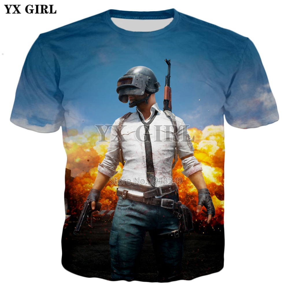 YX GIRL Drop shipping Hot Men Women Brand T-shirt Top FPS Game PUBG Print 3d T shirts 2018 summer New Casual Cool Tee shirts