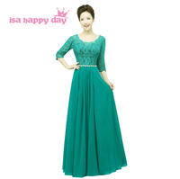 womens classy elegant party a line lace red simple illusion neckline prom long dress green dresses 2019 with sleeves H2910