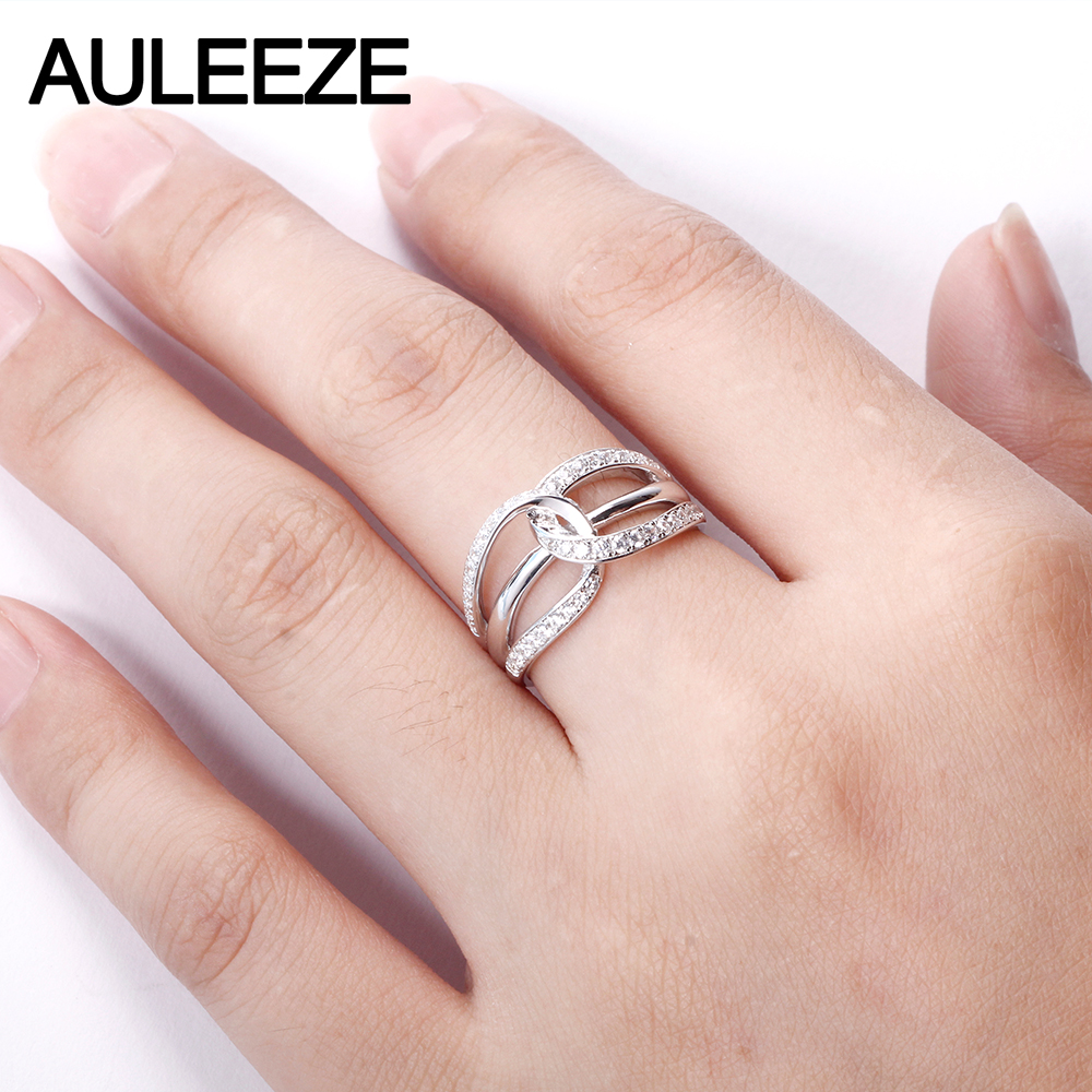 AULEEZE Real Diamond Gold Rings For Women 18K Solid White Gold ...