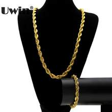 Uwin Classic Hot Style 6mm&10mm Wide Rope Chain Men's Hip-hop Gold&Silver Color Twist Chain Men Bracelet Necklace Jewelry Set(China)