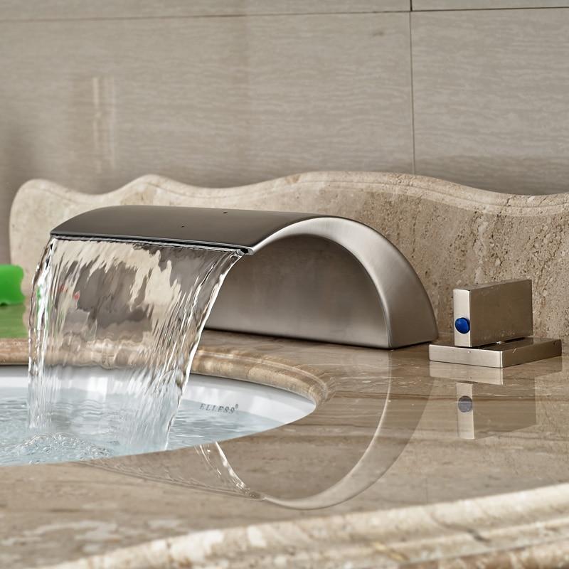 Nickel Brushed Two Handles Waterfall Bathroom Basin Sink Faucet Deck Mount 3 Holes