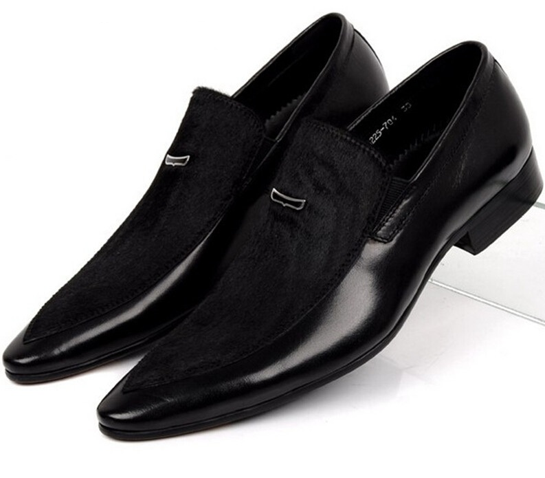 De gran tamaño EUR45 Negro mens zapatos de vestir de cuero genuino del ante del dedo del pie puntiagudo zapatos de vestir para hombre de negocios zapatos de la boda