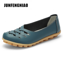 JUNFENGNIAO Women Female Shoes Flats Girl Sandals Rubber Pigskin Spring Round Toe Split Cow Leather Slip On Superstar AHE-1199