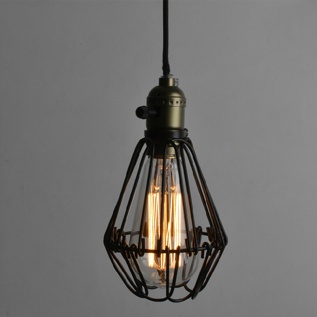 EDISON VINTAGE LIGHT CHANDELIER Rustic Wire Cage Hanging Ceiling ...