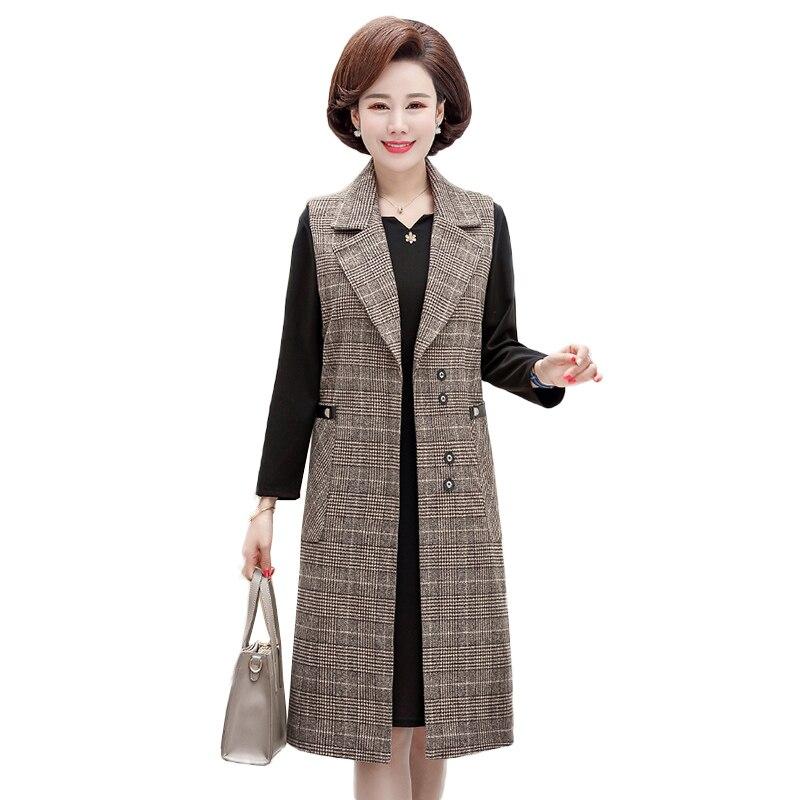 Office Lady Casual Long Vest Women Elegant Pocket Coat Dress Sleeveless Slim vest Jackets Two piece set Outerwear Ladies LF1038