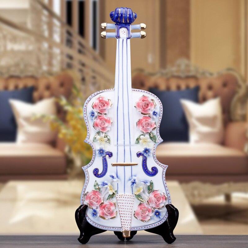 Artisanat créatif mariage violon guitare Lute en céramique décor à la maison artisanat chambre décoration en céramique ornement porcelaine Figurines - 2