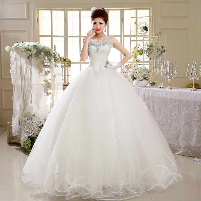 Luxury Tulle Flowers Sheer Neckline Corset Tank Wedding Dress A ...