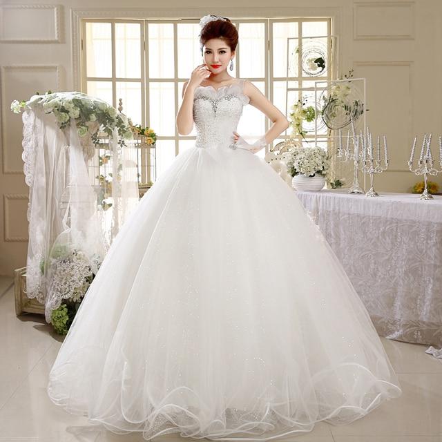 Luxury Tulle Flowers Sheer Neckline Corset Tank Wedding Dress A Line Floor Length Bridal Gowns