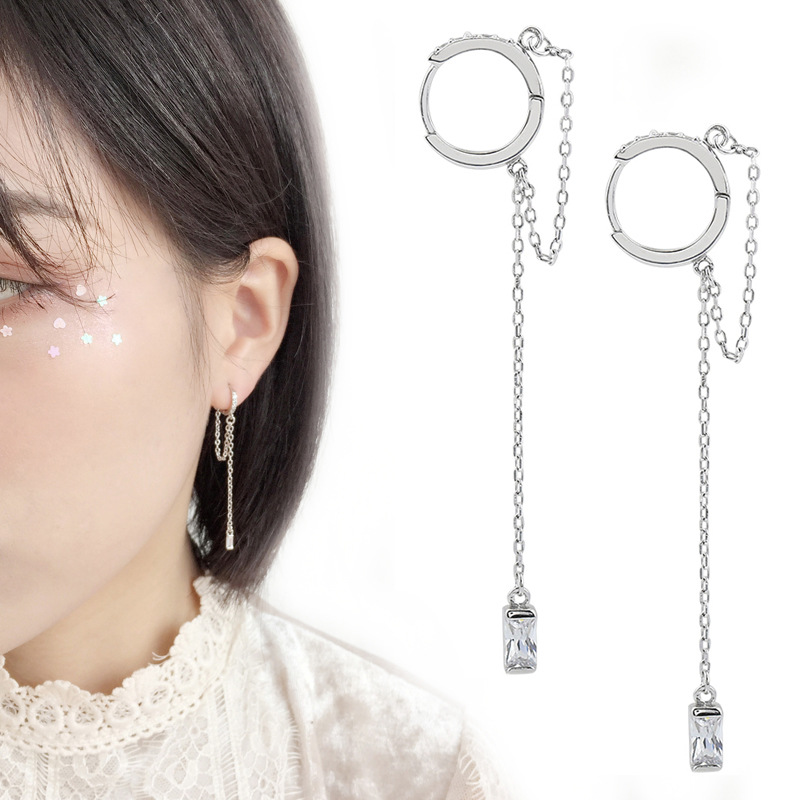 Punk Style 925 Solid Sterling Silver Crystal Charm Drop Earrings For Women Wedding Party Accessories Pendientes Brincos Eh1047