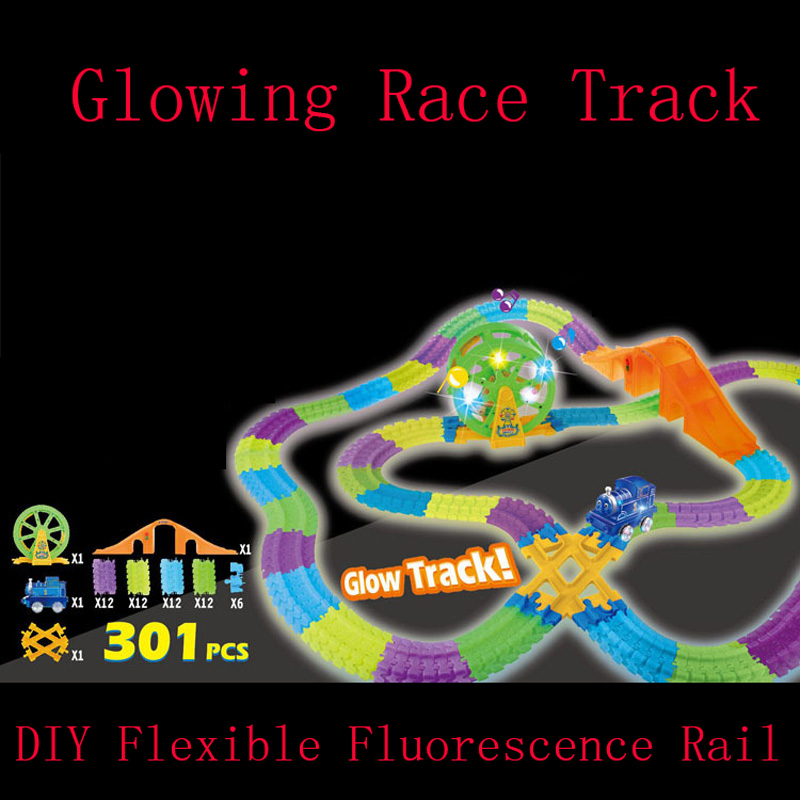 Electronic Music Lights Rail Glow Track With Thomas the train Rail Track Car DIY Assembly for Children education Gifts Kids Toy