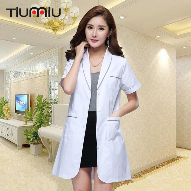 2018 Doctor Uniform Hospital Medical Scrub Clothes Women Drugstore Long Coat Surgical Scrubs Ladies Medical Uniform Beauty Salon
