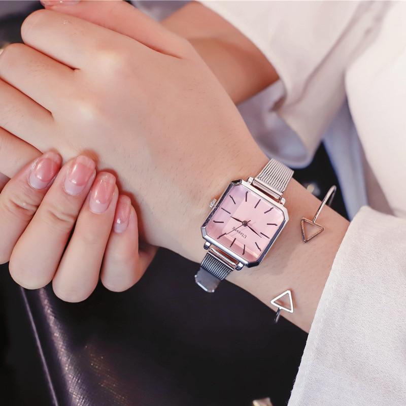 Ulzzang Vintage Square Leather Women Watches Ladies Silver Quartz Wristwatches Female Stainless Steel Mesh Bracelet Watch Clock