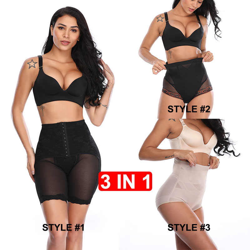 074a837a710 3PCS IN 1 Shapewear for Women Hi-Waist Brief Tummy Control Underwear Slimmer  Body Shaper
