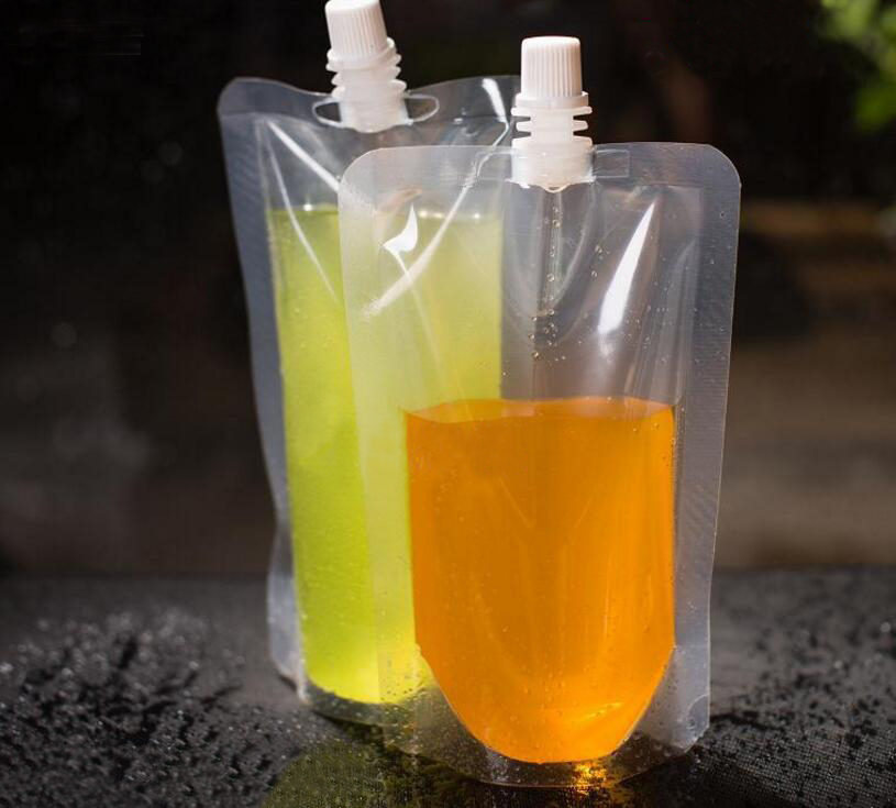 100 Pack Stand Up Plastic Drink Packaging Bag Spout Pouch For Beverage Liquid Juice