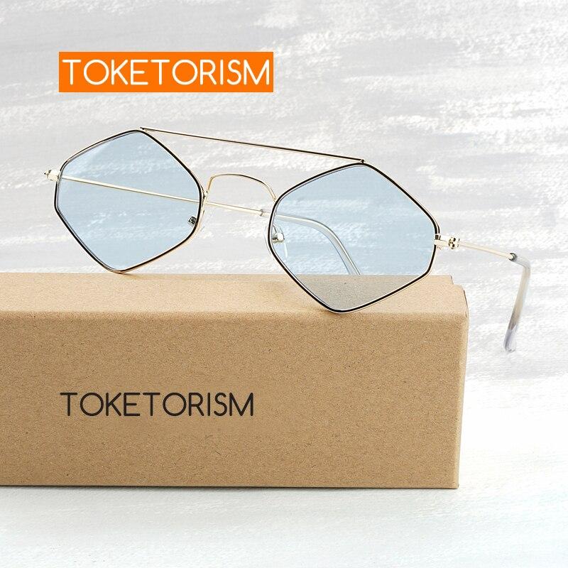 Toketorism hexagon sunglasses fashionable Tinted glasses womens vintage metal frame 1553