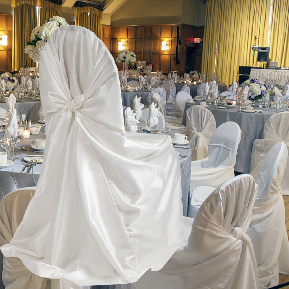 self tie satin universal chair cover for wedding banquet party