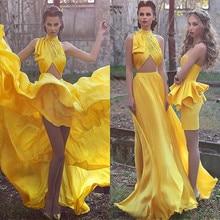 Sexy High Neck Zwei Stücke Prom Kleider Vestido De Festa Sleeveless Falten Langen Chiffon Gelb Frauen Formale Abendkleider