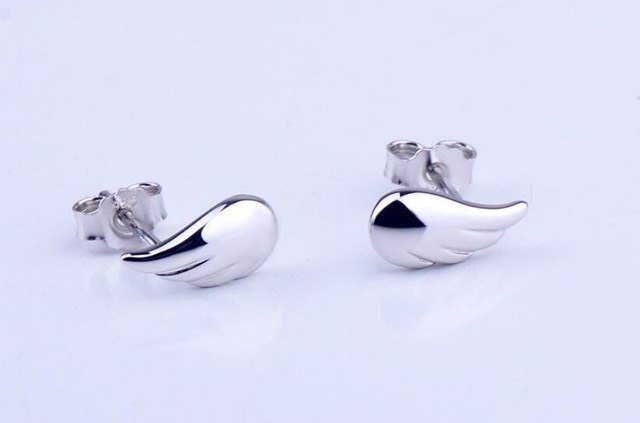 Highly Furnished Sterling Silver Angel Wing Stud Earrings