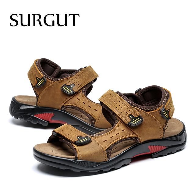 SURGUT Brand Men Summer Fashion Sandals Beach Shoes Genuine Leather Comfortable Casual Shoes Men Roman Style Big Size 38-48