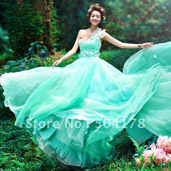 Sexy one shoulder bride blue green married evening dress for Blue green wedding dress