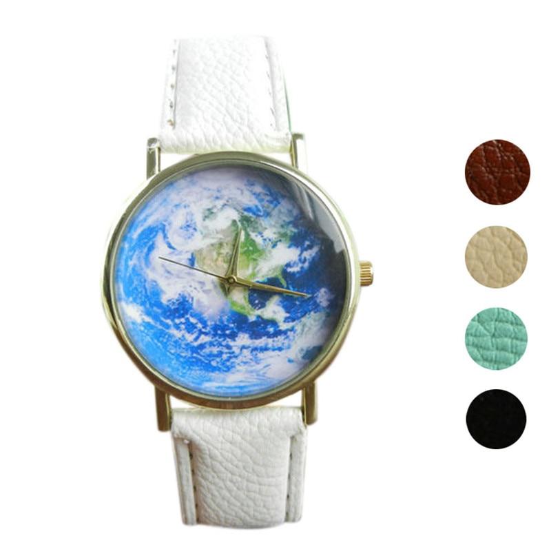Прекрасный Подарок Карта Pattern женские часы Кожаный Ремешок Аналоговые Кварцевые Наручные Часы June06