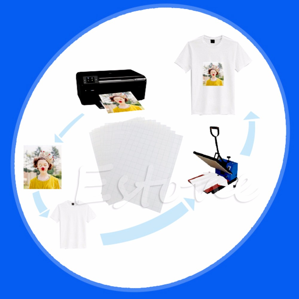 10 листов A4 утюг на струйный печати бумага переноса тепла для DIY ремесло футболка новый
