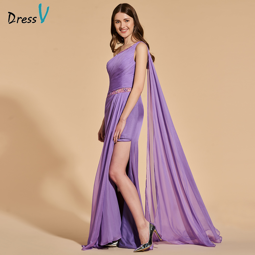 Dressv Beading Party-Gown Dark-Lilac Evening Elegant Long One-Shoulder Pleat Floor-Length
