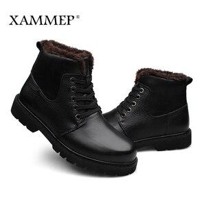Image 5 - Echtes Leder Männer Schuhe Winter Stiefel Männer Marke Wohnungen Winter Schuhe Casual Schuhe Warme Plüsch Plus Große Größe Hohe Qualität xammep