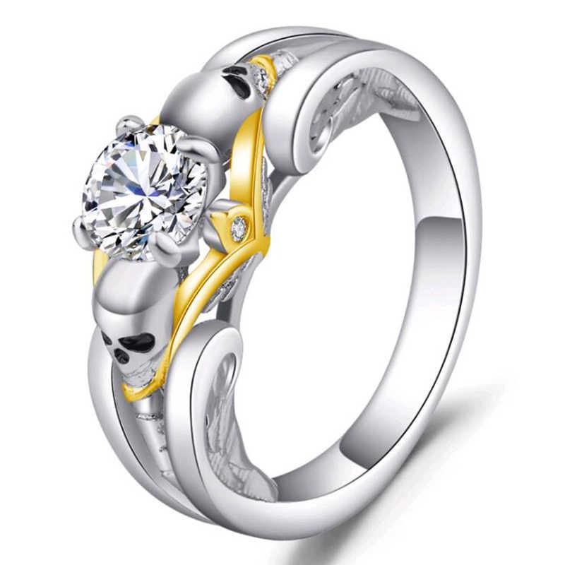 النمساوية الفضة اللون القوطية الجمجمة Vintage نمط كريستال الزركون خواتم للنساء الزفاف المشاركة مجوهرات العصرية الحب خاتم هدية