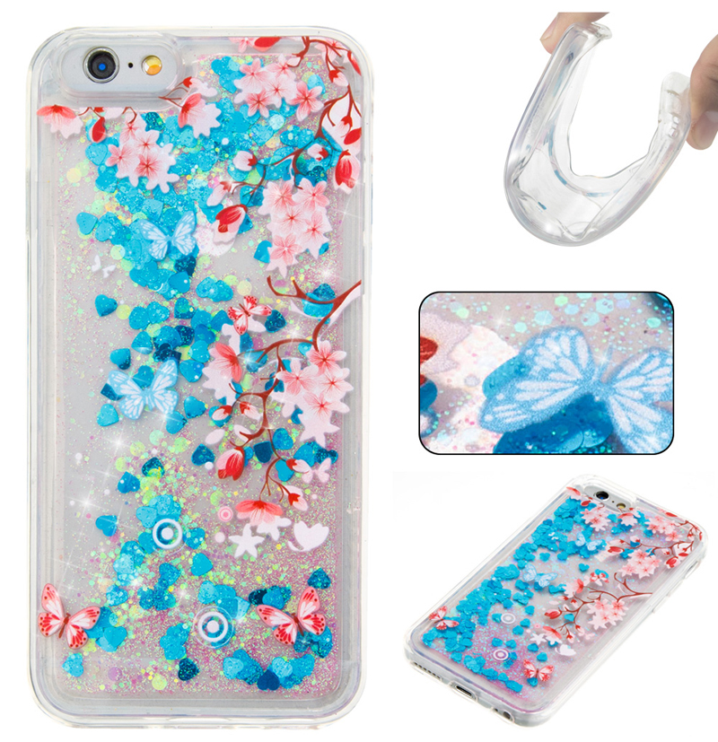 For iPhone Case For 4 4S 5 5S SE 6 7 8 x Puls Cover New Glitter love Plum Flower Quicksand Skin Silicon TPU Shell