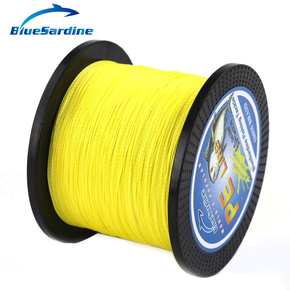 BlueSardine 500M opletené žluté rybářské vlasce Multifilament PE Braid Fishing Wire Tackle 12LB - 90LB