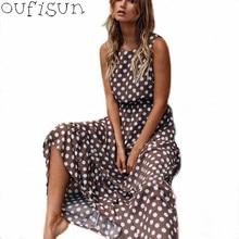 Oufisun Summer Sleeveless Polka Dot Print Midi Dress Casual Women Fashion Dresses 2019 New A-Line Boho Elegant Brown Long Dress
