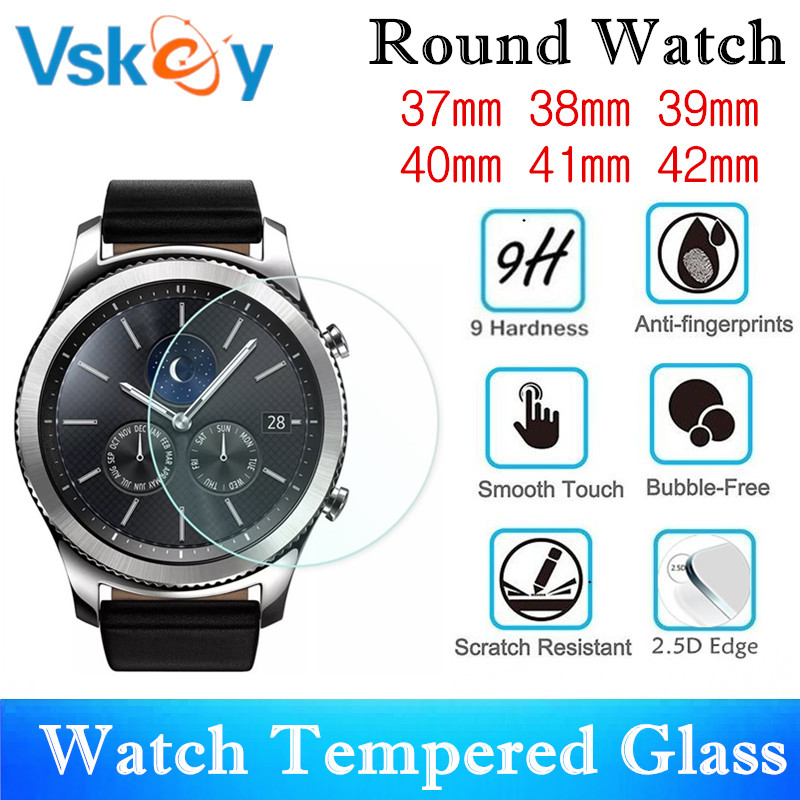 VSKEY 100PCS Universal Round Smartwatch Tempered Glass Diameter 37mm 38mm 39mm 40mm 41mm 42mm Screen Protector