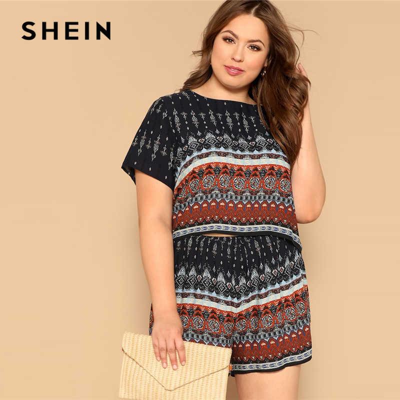 a4a9e9b87dc86 SHEIN Beach Multicolor Plus Geometric Print Top And Short Set Short Sleeve  Co-Ord Women