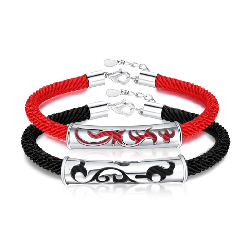 ONEVAN Fashion 925 Silve Couple Bracelets for Women Chinese Style Classic Hollow Dragon & Phoenix Lovers Bangles Jewelry Gifts