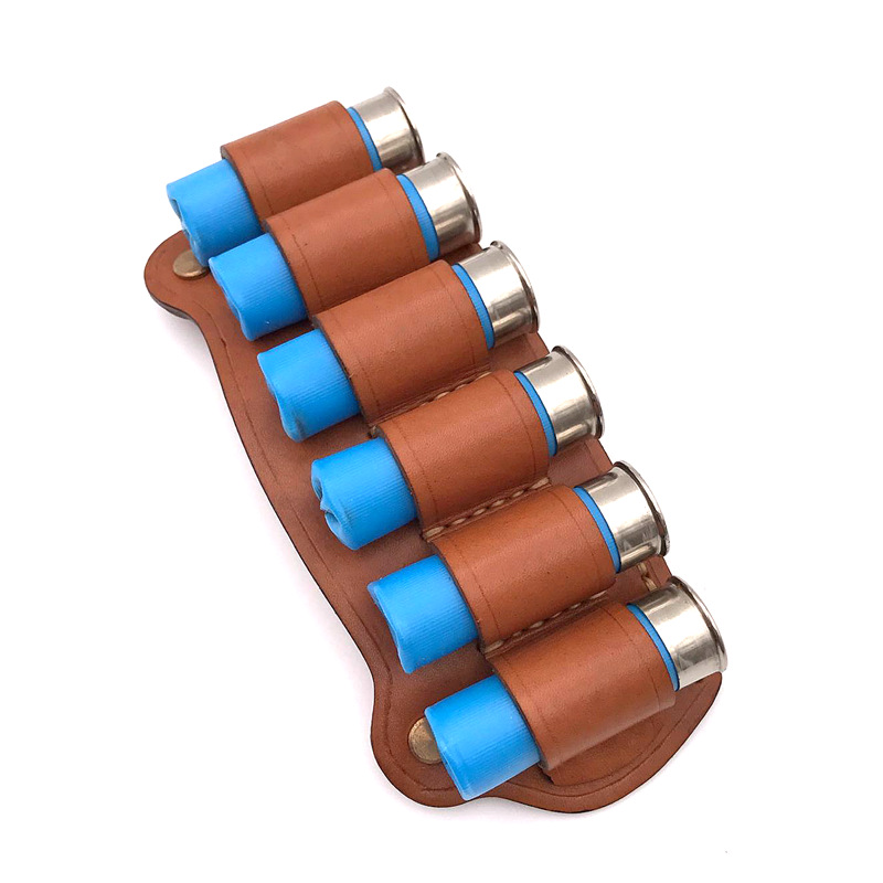 hunting Shotgun cowhide Cartridge Belt Airsoft Tactical 6 Shots Gauge Shotgun Shell cowhide Bandolier Gauge Ammo Holder Military image