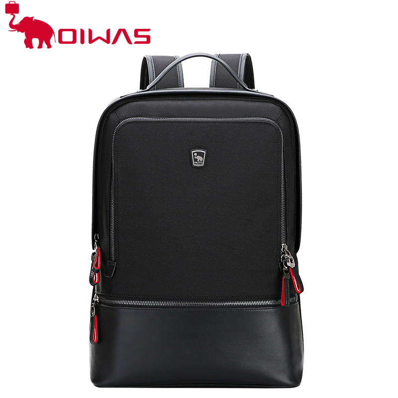OIWAS Men Women Nylon Leather Laptop Backpack Waterproof Business Computer Bag Travel School Notebook Casual OCB4387 army green men women laptop backpack 15 15 6inch rucksack school bag travel waterproof backpack men notebook computer bag black