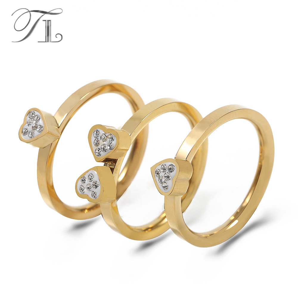 TL New Design Three Pcs / Set Romantic Crystal Love Heart Wedding Ring Set For Women Gold Color Four Leaf Clover Engagement Ring