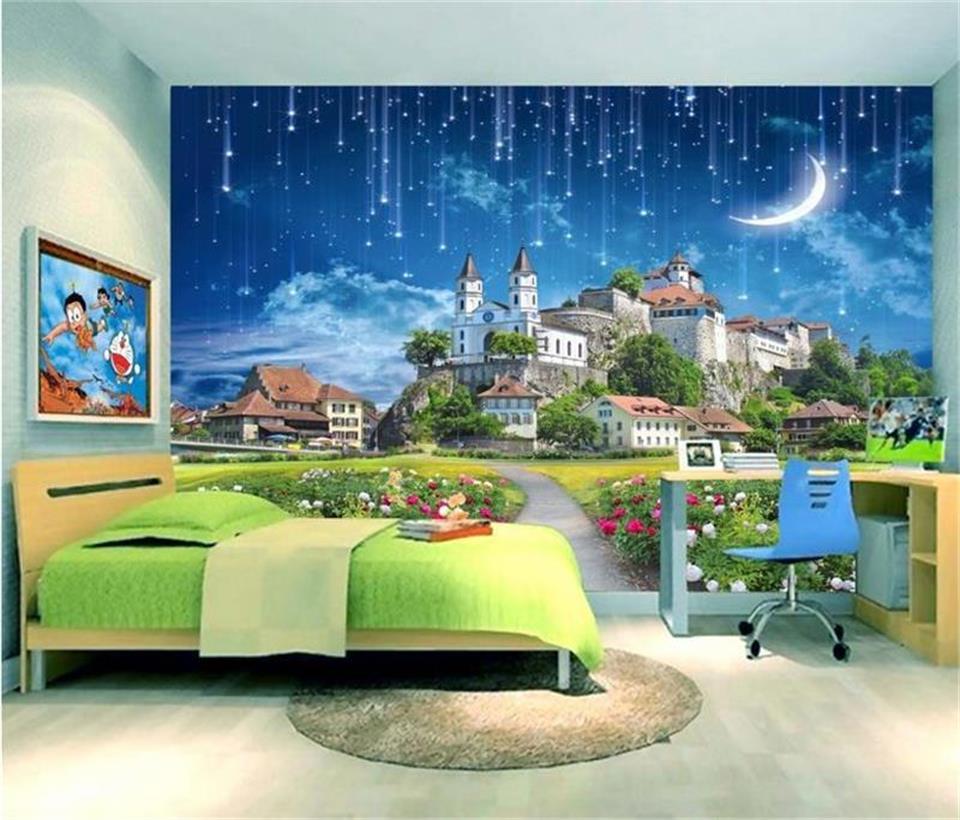 3d обои фото обои на заказ Гостиная Фреска замок мечты метеорный поток 3d картина ТВ фон обои для стен 3d