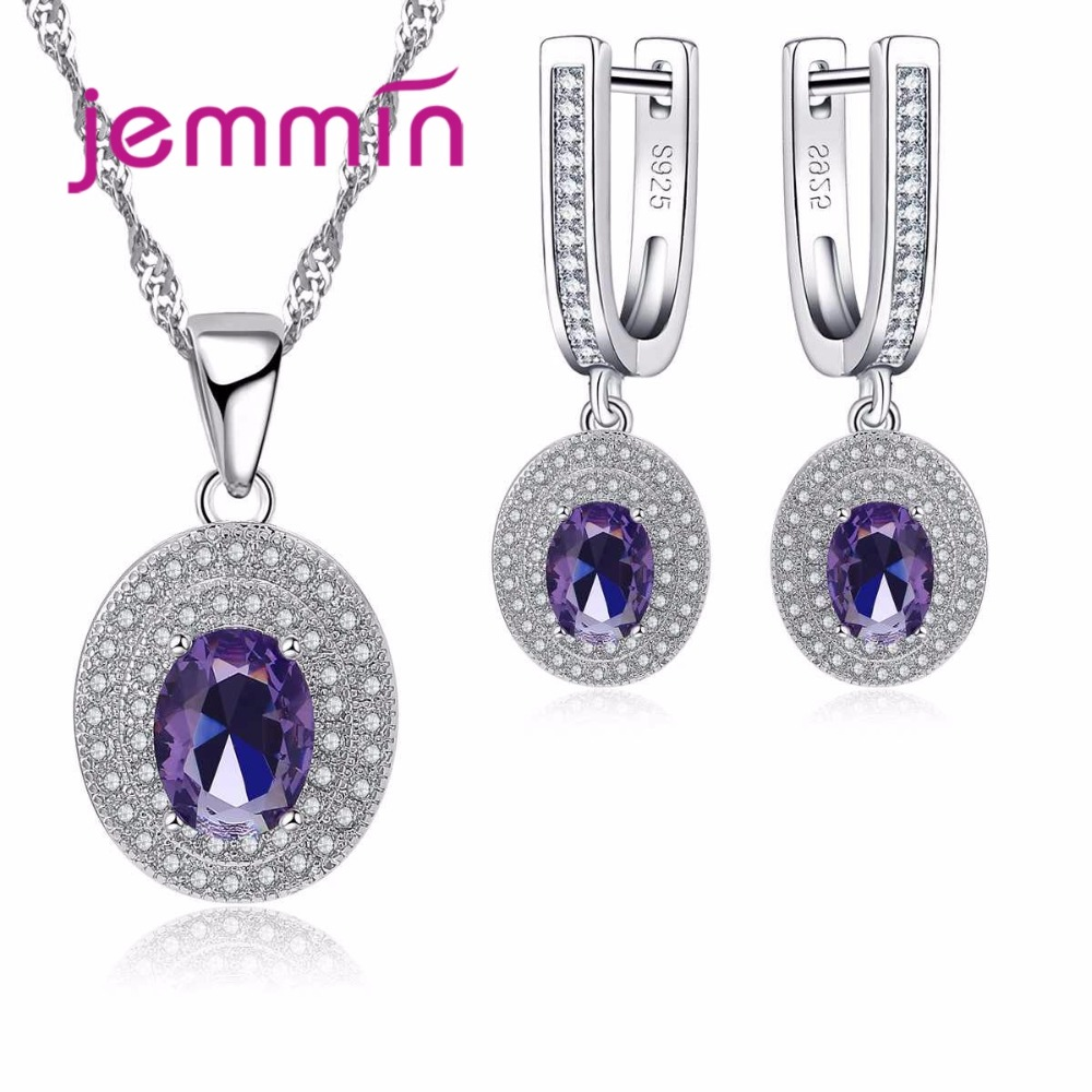 Jemmin Luxury Women Bridal Jewelry Set For Wedding Engagement Accessory Purple Austrian Crystal Statement Necklace Earring Set