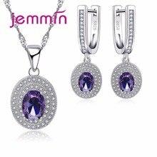 Jemmin Luxury Women Bridal Jewelry Sets For Wedding Engagement Accessory Purple Austrian Crystal Statement Necklace Earring Sets недорого