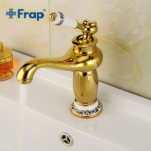 Frap Europe Style Gold Basin Tap Solid Copper Bathroom Faucet Single Handle Cold and Hot Water The New Luxury Antique Tap Y10172Frap Europe Style Gold Basin Tap Solid Copper Bathroom Faucet Single Handle Cold and Hot Water The New Luxury Antique Tap Y10172