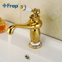 Frap Europe Style Gold Basin Tap Solid Copper Bathroom Faucet Single Handle Cold and Hot Water The New Luxury Antique Tap Y10172