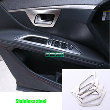 4Pcs/Set Car Door Handle Bowl Cover Interior Decoration Trim For Peugeot 4008 5008 2017 Stainless Steel Accessories accessory цена и фото