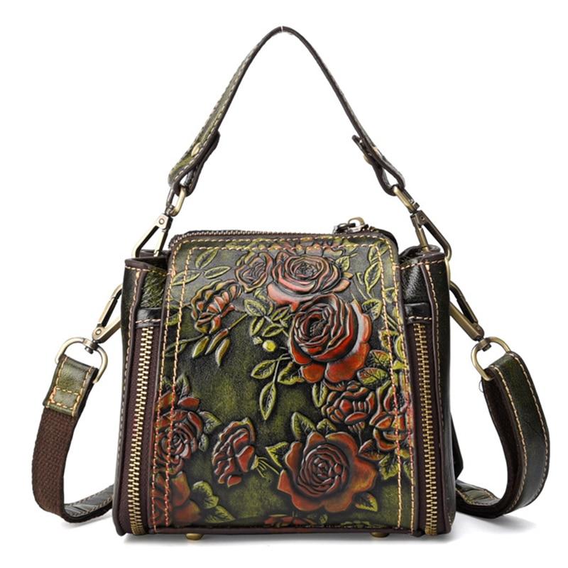 Bolsa de Luxo Alta Qualidade Natural Pele Cruz Corpo Tote Floral Mulheres Mensageiro Ombro Alça Superior Couro Genuíno Bolsas