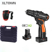 XLTOWN 25v electric screwdriver with 2 battery rechargeable lithium battery cordless drill home power hand drill power tools
