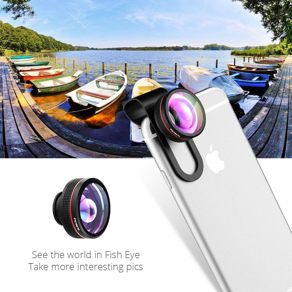 VICTSING Clip-on 3 in 1 Camera Phone Lens Kit Fisheye Lens + 12X Macro + 24X Super Macro Lens for iPhone 6s 6 Plus etc Cellphone 3