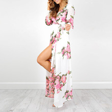 Maxi Dress Women 2017 Timechee New Summer Boho Sexy V-Neck Print Empire Split Loose Long Dresses Vestidos LYY0137