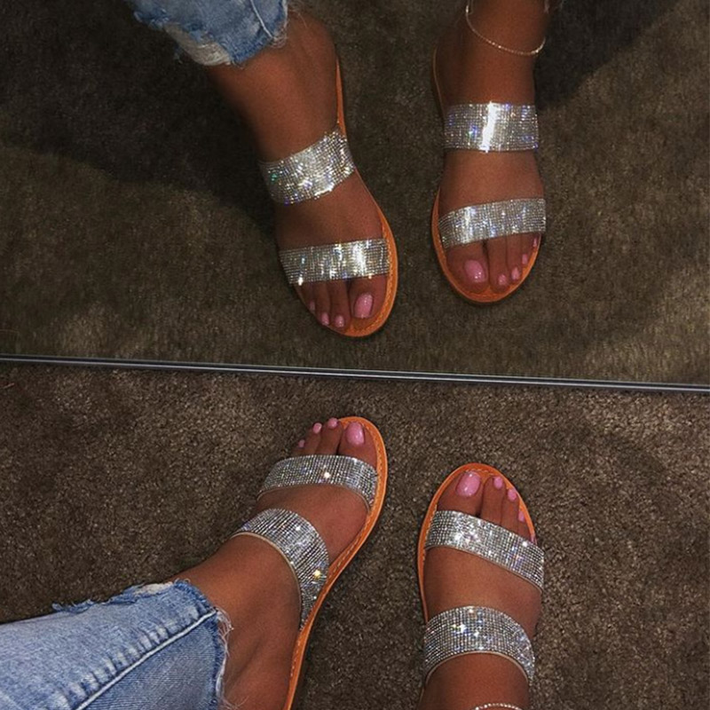 Women Summer Flat Bling Slippers Transparent Soft Jelly Shoes Female Flip Flops Sandals  Outdoor Beach Ladies Slides Plus Size 2